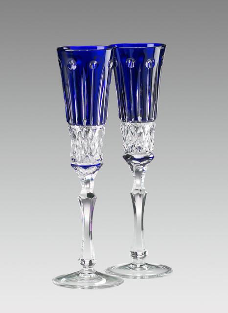 Elizabeth Champagne Flute Glasses Set Of 2 Cobalt Blue