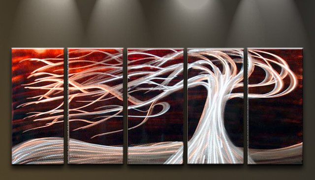 Metal Wall Art Abstract Modern Sculpture White Tree On Red