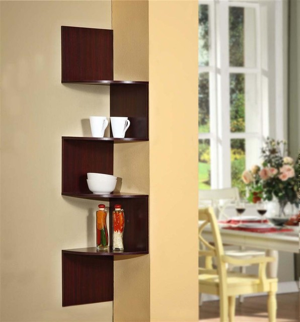 Modern Staggering Corner Bookshelf in Cherry ... on Corner Sconce Shelf Cabinet id=65518