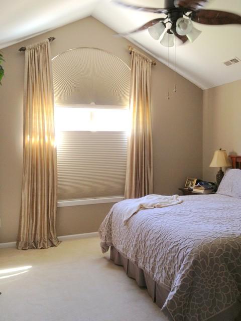 Custom silk stationary panels over Hunter Douglas honeycomb shades traditional curtains