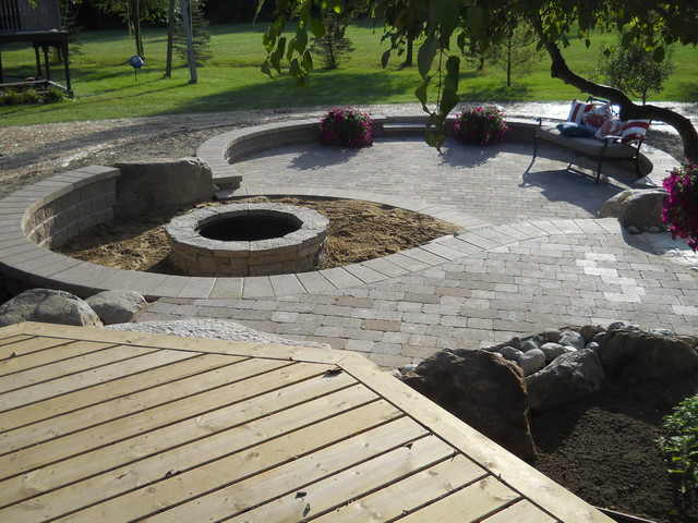 Outdoor living space with walkout basement addition ... on Walkout Patio Ideas id=12459