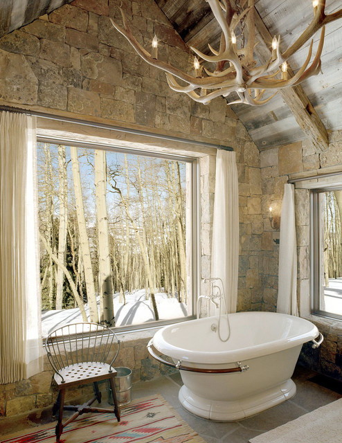 Lucky L rustic bathroom