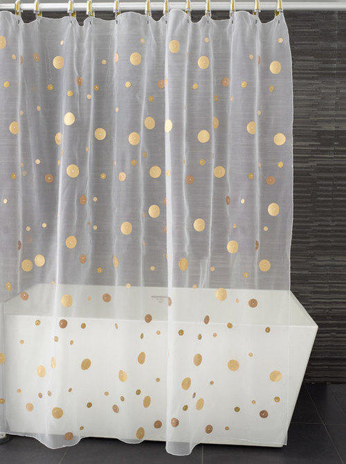 First Attempt with Fabric Paint: Gold Polka Dot Shower Curtain ...