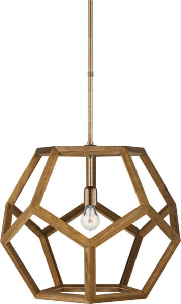 Large Wooden Pendant Light