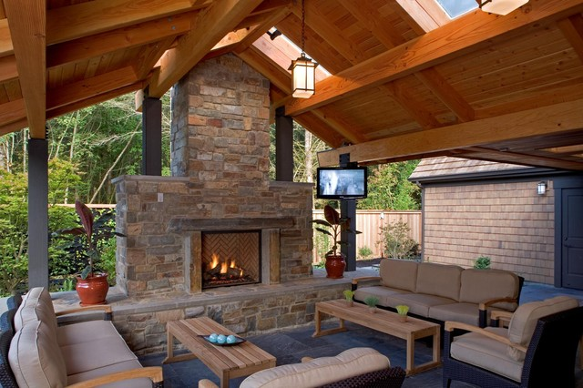 Outdoor Living space - Mediterranean - Patio - seattle ... on Covered Outdoor Living Area id=32920