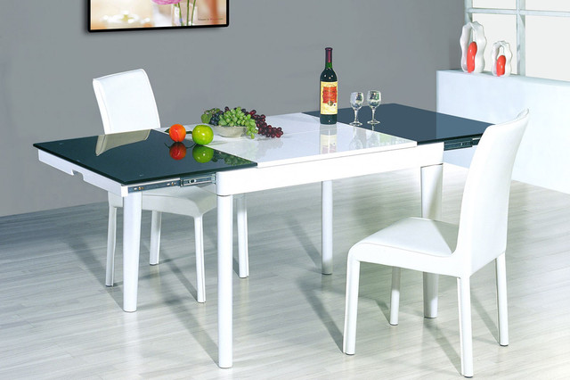Extendable Round Wood And Frosted Glass Top Leather Modern