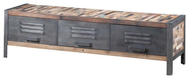 Locker Style TV Unit Made Of Recycled Boat Wood