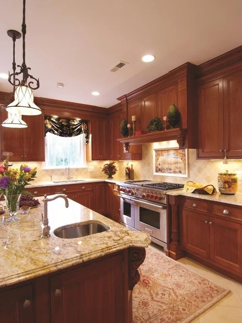 Cherry Cabinet With Granite Home Design Ideas, Pictures ... on Backsplash Ideas For Black Granite Countertops And Cherry Cabinets  id=19824