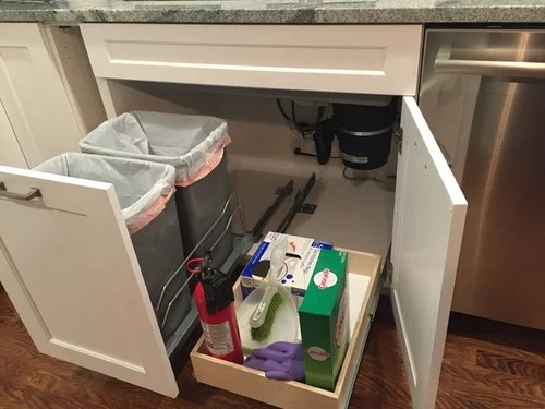 trash pullout and drawer under sink