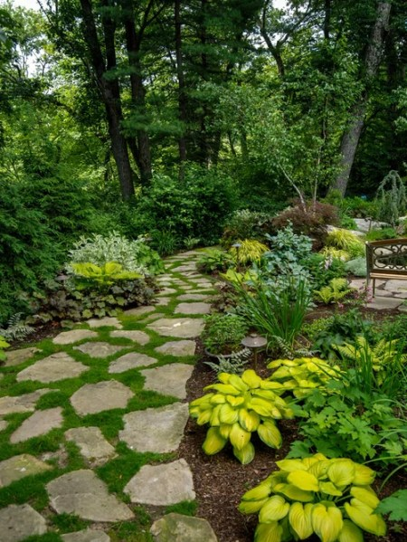 shade garden path ideas Traditional Landscape Ideas, Designs, Remodels & Photos