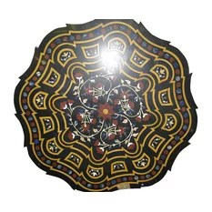Mogul Interior - Consigned Inlay Black Marble Floral Jasper Malachite Round Table Top India - Aesthetically Traditional floral motifs inlay work in round shape