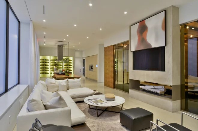 Contemporary Family Room by Crescendo Designs, Ltd.