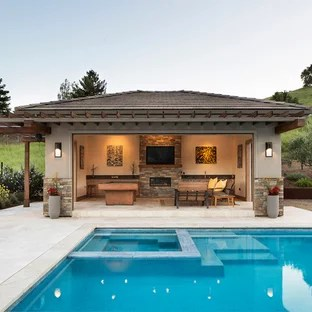 75 Most Popular Transitional Pool House Design Ideas For