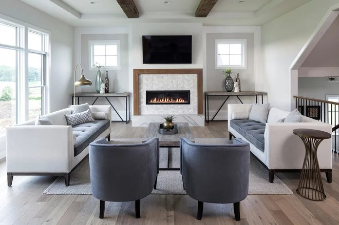 Transitional Family Room by David Charlez Designs