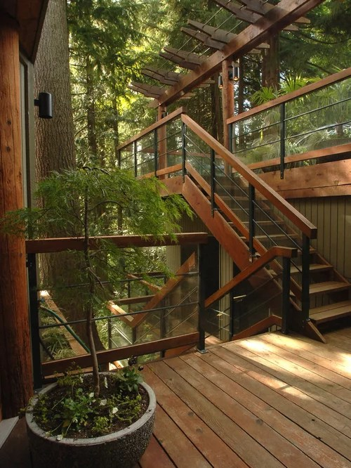 Outdoor Stair Railing Home Design Ideas, Pictures, Remodel ... on Backyard Stairs Design id=38478