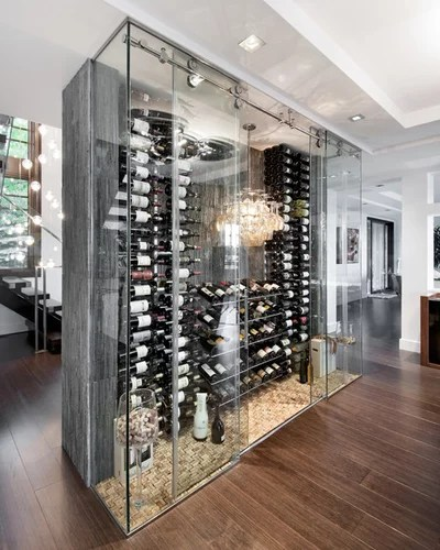 Contemporary Wine Cellar by Design First Interiors