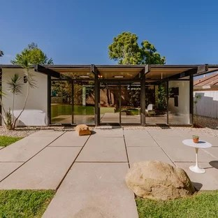75 Beautiful Mid-Century Modern Stamped Concrete Patio ... on Mid Century Modern Patio Ideas id=19186