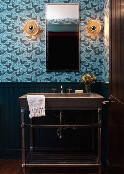 Transitional Powder Room by Michele Lee Willson Photography