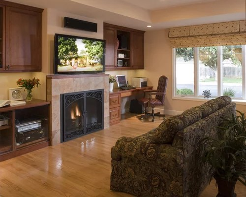 Desk Next To Fireplace Home Design Ideas, Pictures