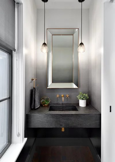 Transitional Powder Room by Beyond Beige Interior Design Inc.