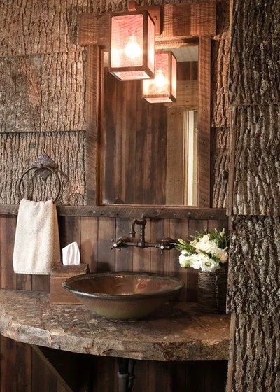 Rustic Powder Room by High Camp Home