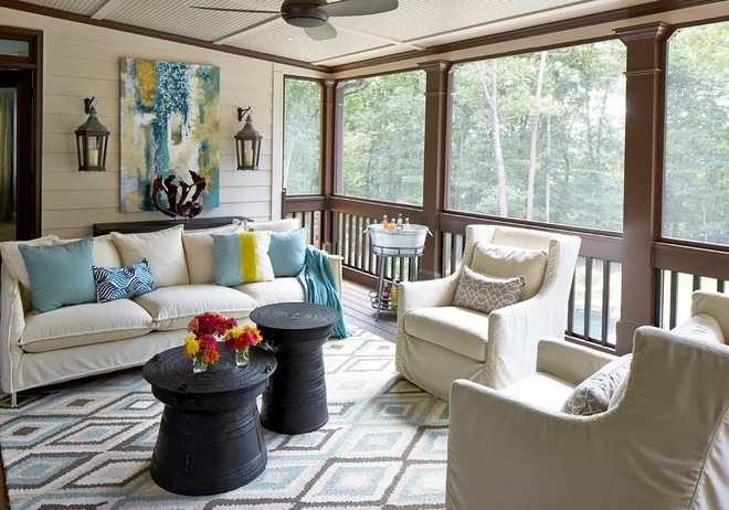 Transitional Porch by Meriwether Design Group