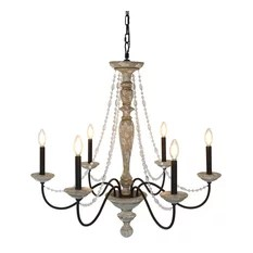 Elle B Jane French Country Rustic 6 Light Distressed Wood Chandelier Crystal