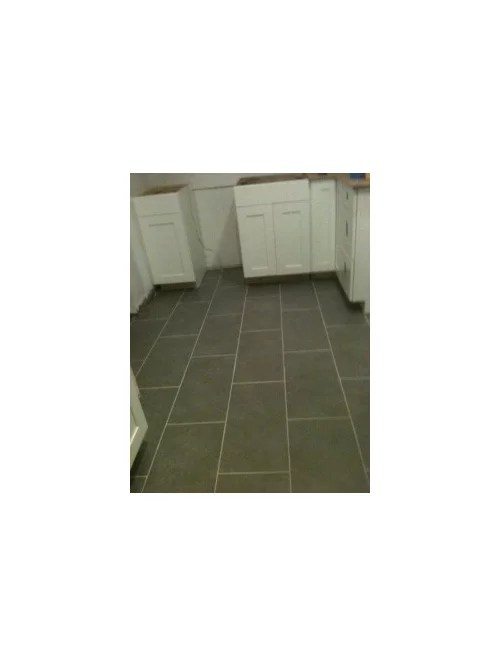 gray porcelain tile with light gray grout