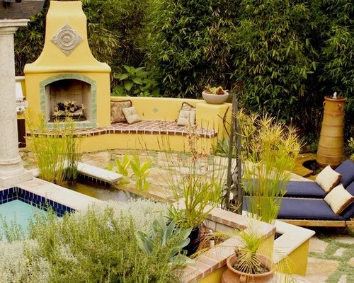 Mexican Fireplace Home Design Ideas, Pictures, Remodel and ... on Mexican Backyard Decor  id=25281
