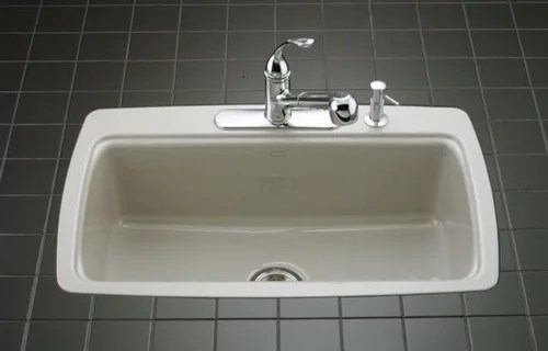 are flush mounted tile in sinks prone