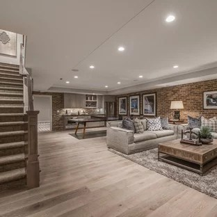75 Most Popular Basement Design Ideas   Stylish Basement Remodeling     Example of a large classic light wood floor and brown floor basement design  in Salt Lake