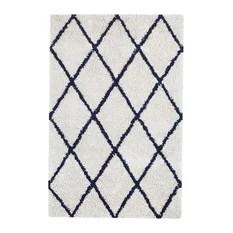 Ivory Silky Shag Area Rug With Navy Diamond 9'x12'