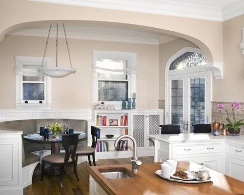 Large Elegant U Shaped Medium Tone Wood Floor Eat In Kitchen Photo New