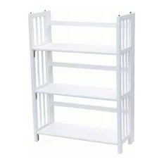Folding Bookcase Storage Unit Shelving With 3-Shelf White Wood