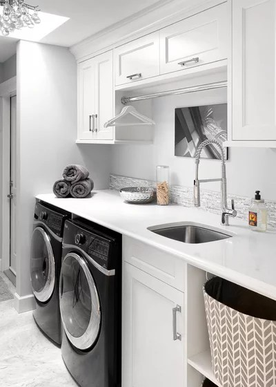 Transitional Laundry Room by South Shore Cabinetry Ltd.