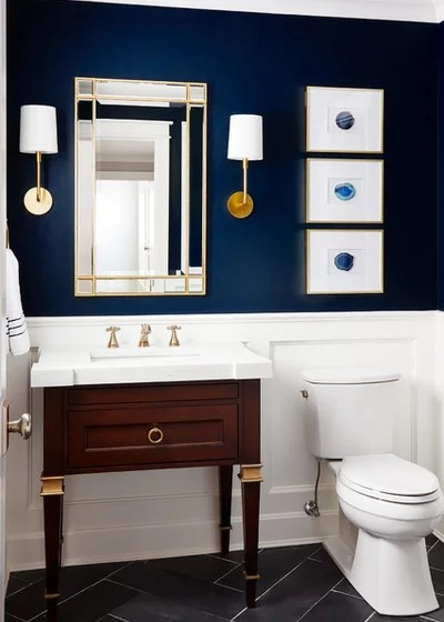 Transitional Powder Room by Black Knight Group