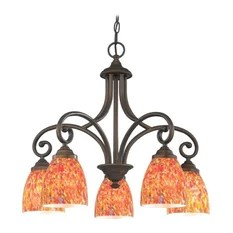 Design Classics Chandelier With Multi Color Glass In Neuvelle Bronze Finish Chandeliers