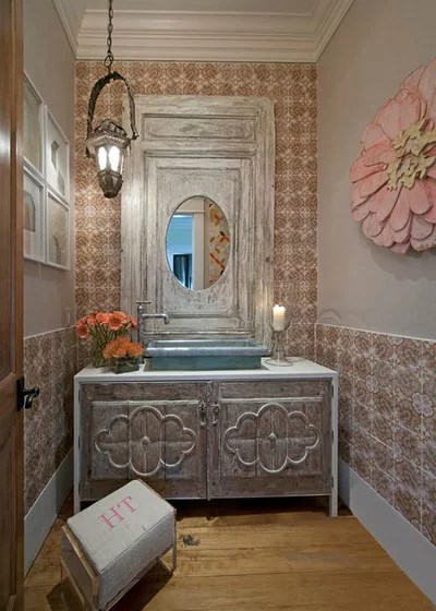 Rustic Powder Room by Janet Gust Design Group