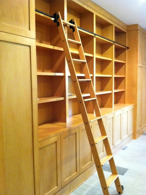 Library Cabinets With Rolling Library Ladder