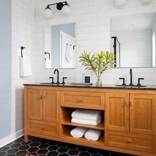 75 Most Popular Black and White Tile Bathroom Design Ideas ... on Bathroom Ideas With Black Granite Countertops  id=36589