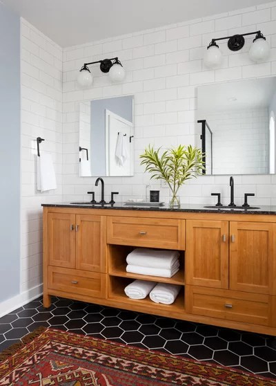 Transitional Bathroom by Kirk Riley Design