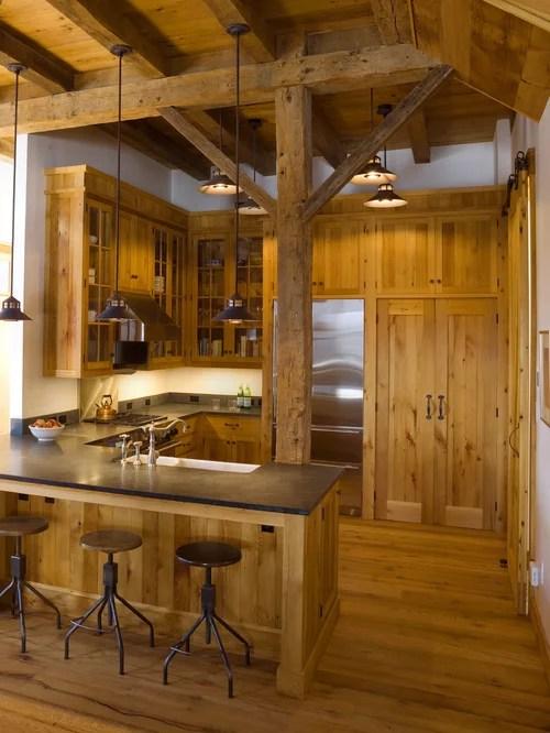 Example Mountain Style Shaped Kitchen Design Burlington