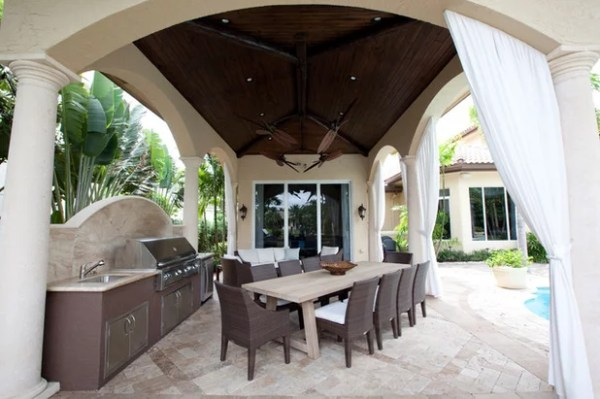 tropical patio outdoor kitchens Wonderful Ways to Hang Outdoor Curtains