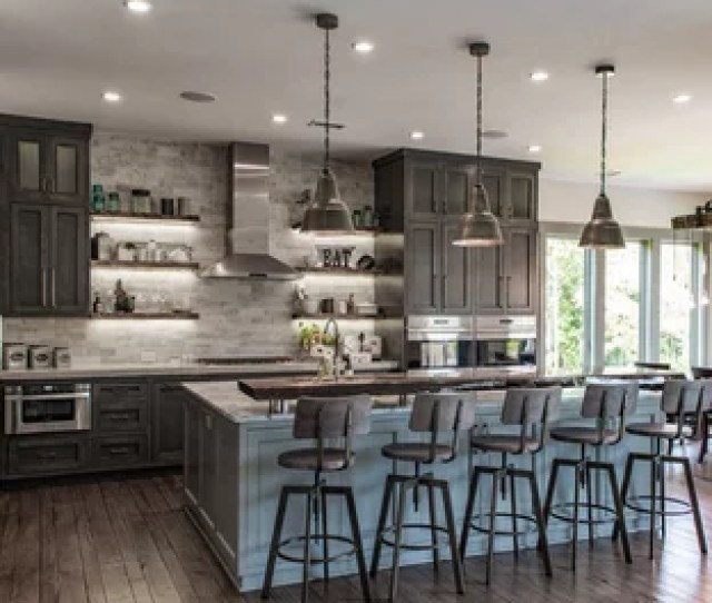 Large Rustic Eat In Kitchen Designs Large Mountain Style L Shaped Brown Floor Save Photo