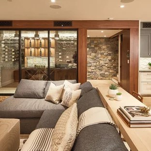 75 Most Popular Basement Design Ideas   Stylish Basement Remodeling     Basement   transitional light wood floor and beige floor basement idea in  Los Angeles with beige