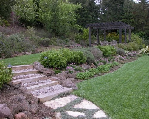 Two Tiered Backyard Home Design Ideas, Pictures, Remodel ... on Tiered Yard Ideas  id=74878