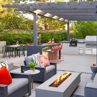 75 Beautiful Mid-Century Modern Patio With A Pergola ... on Mid Century Modern Patio Ideas id=56956