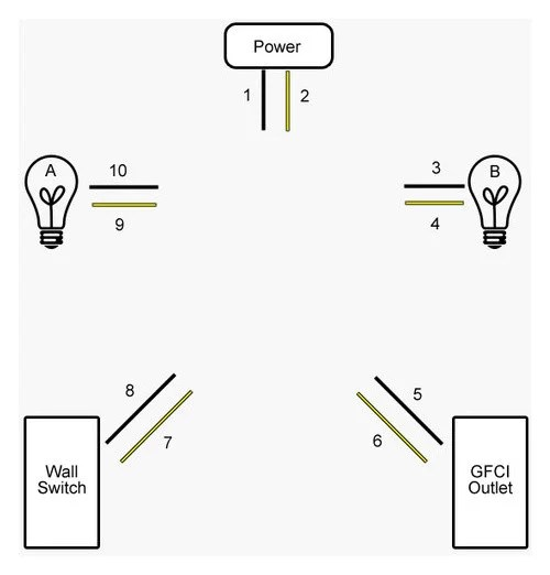 how to wire two lights and an outlet on the same circuit