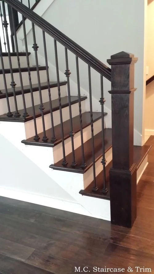 Dark Wood Floors Iron Stairs What Color Chandelier And Size | Brushed Nickel Stair Railing | Horizontal | Farmhouse | Matte Finish | Light Dark Wood | Hallway