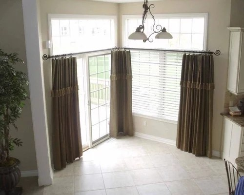 Window Treatments For Kitchens With Large Windows Draperies And Decorative Rod